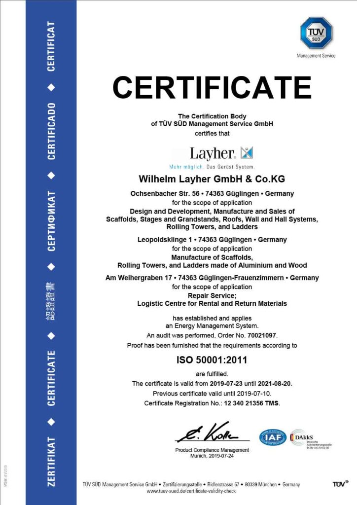 ISO 50001 Energy Management System certificate