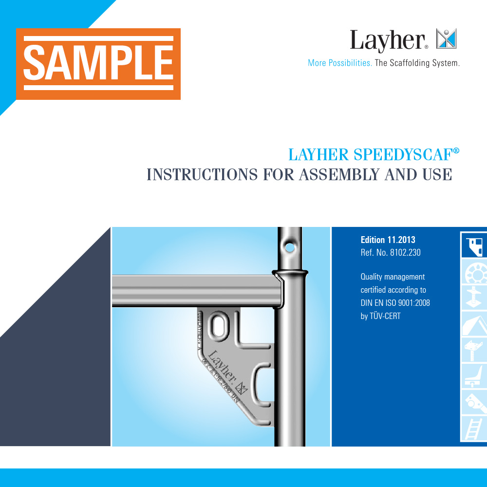 Layher SpeedyScaf Instructions for Assembly and Use