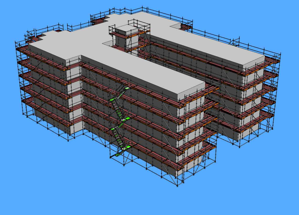 Allround façade scaffold design - 3D rendering