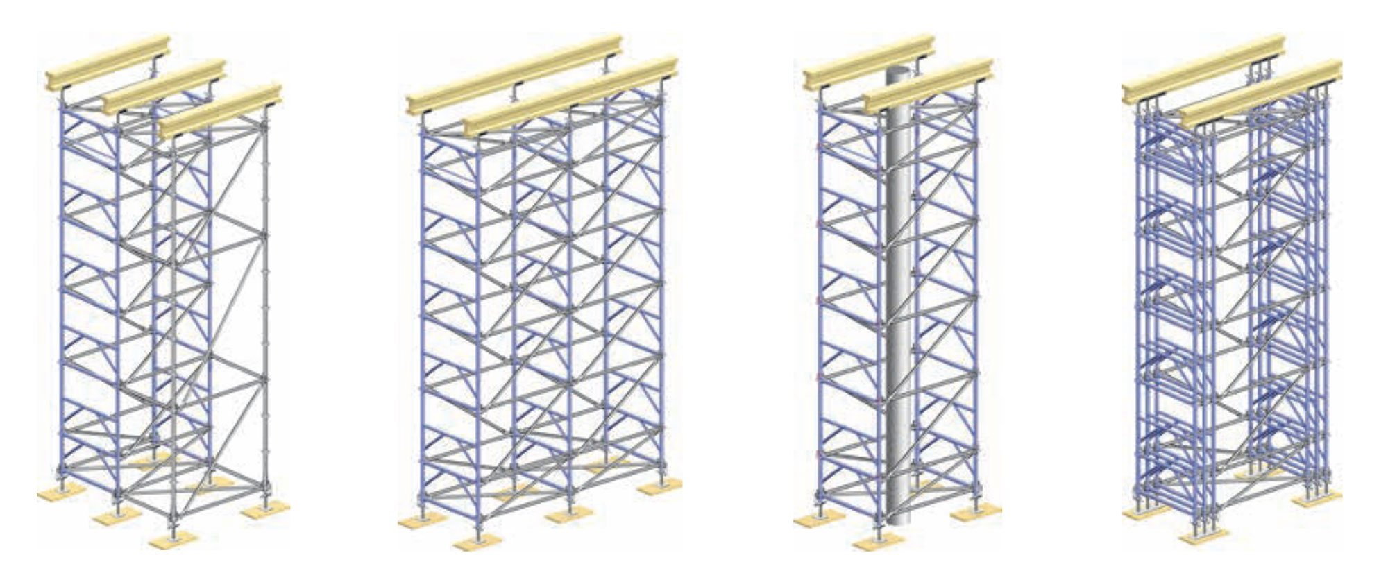 Bundling frames increases load capacities of towers