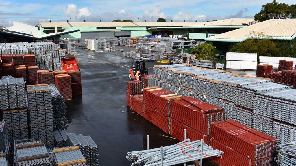 Layher's Auckland yard full of scaffolding supplies for sale