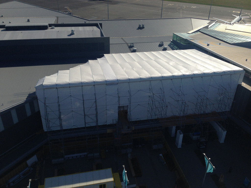 Temporary Layher Keder XL Roof had to span 22m at Christchurch Airport