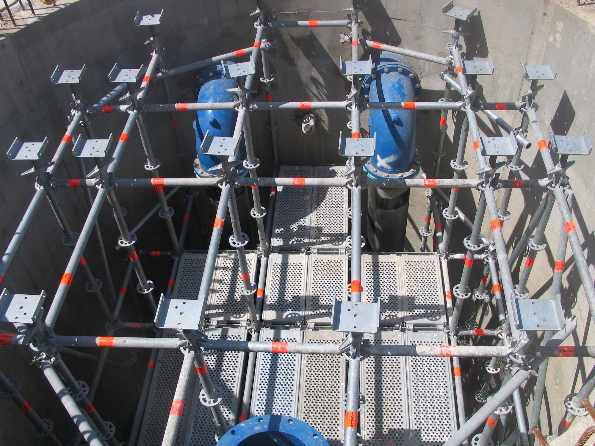 Action Scaffolds constructed a propping scaffold using Layher Allround for a concrete slab