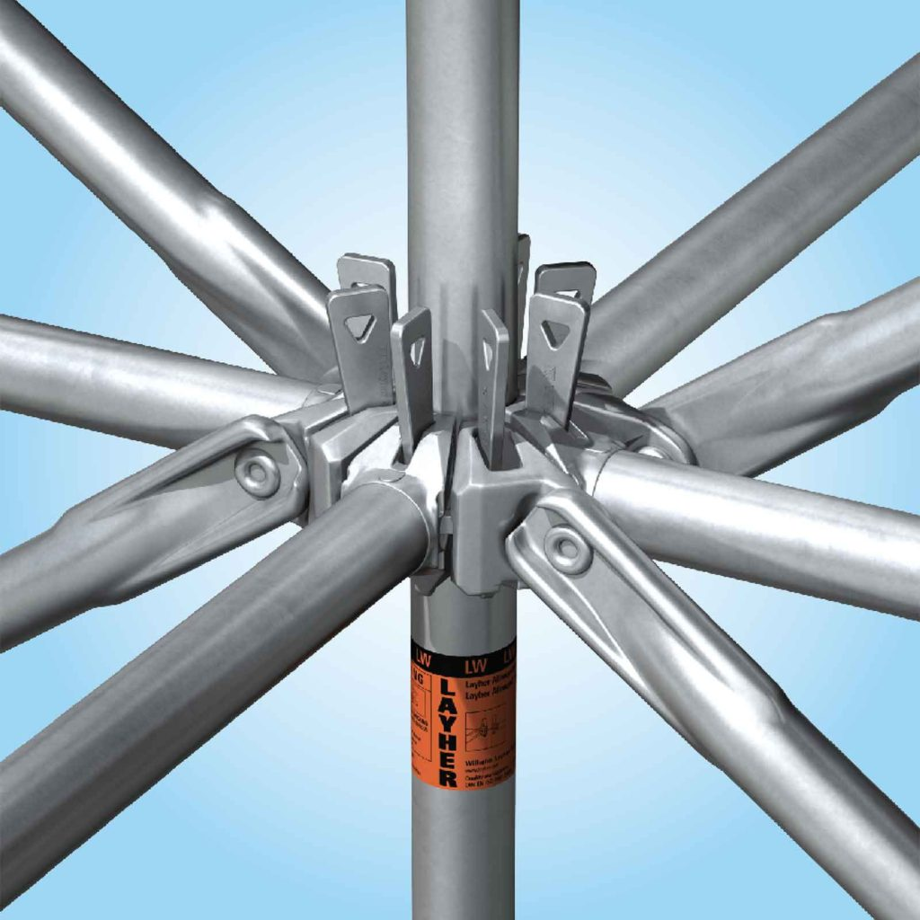Layher invented the original Allround rosette (or ring) scaffolding system in 1974