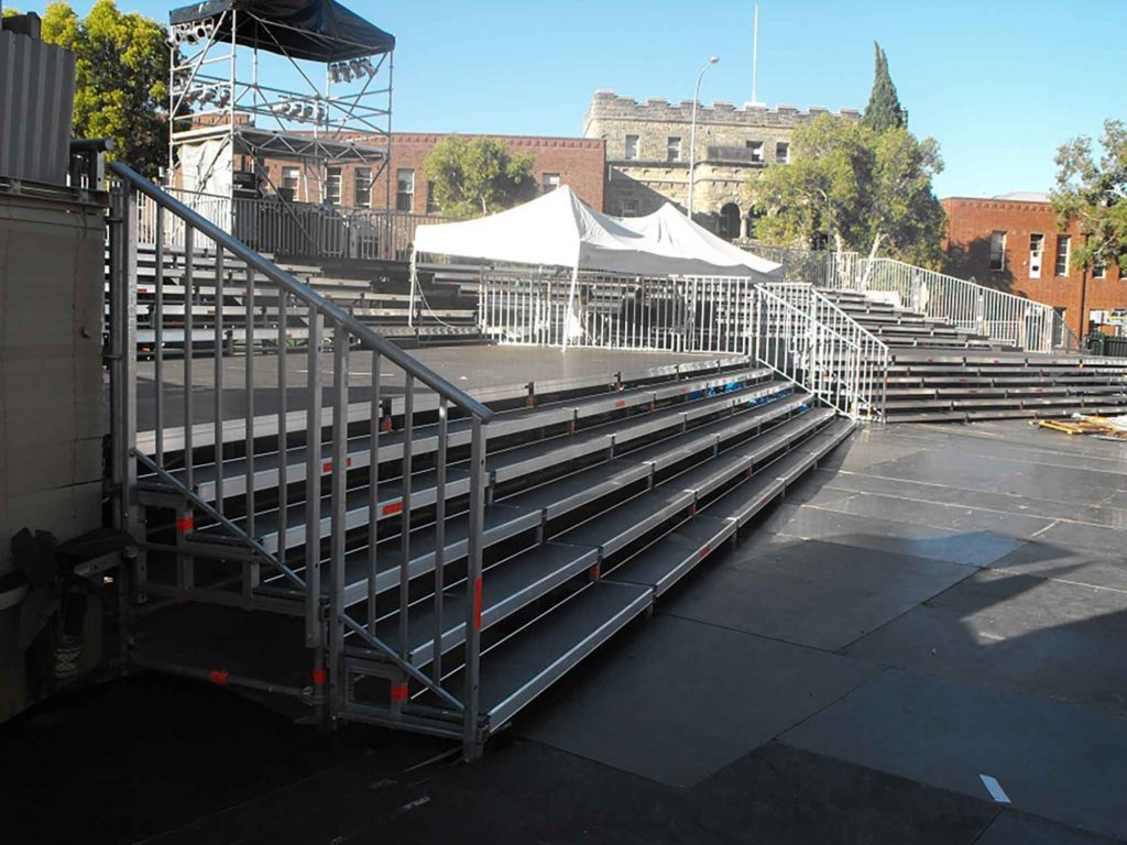Layher EV 104 stage decks used on the Festival Gardens event