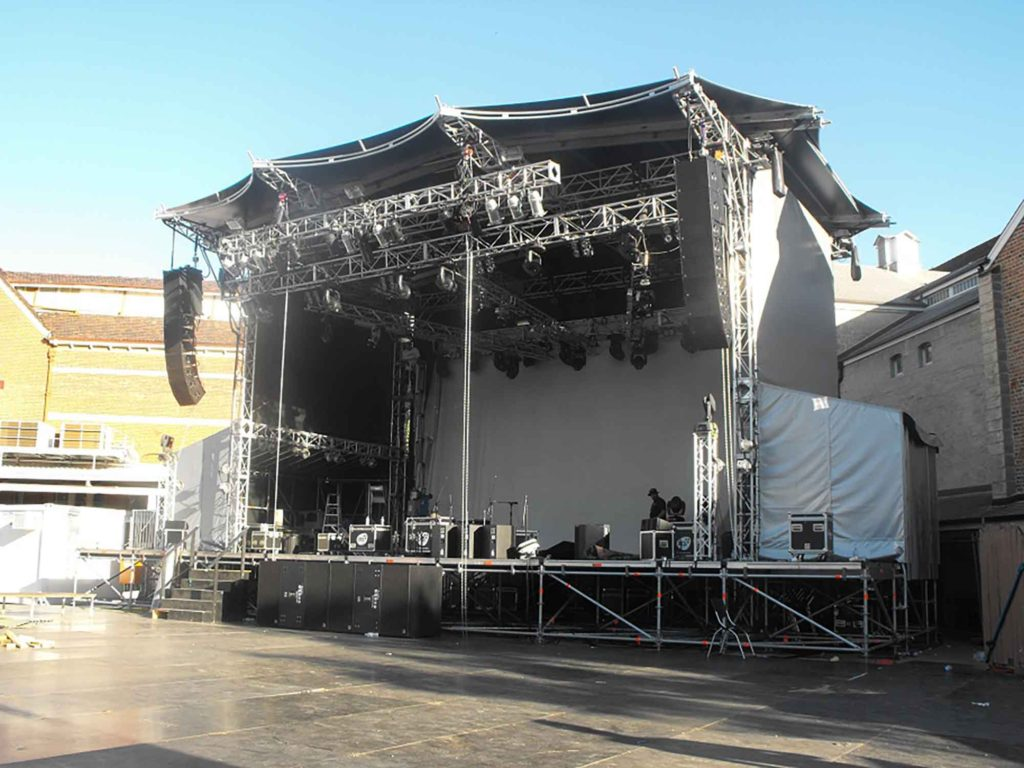 Festival stage constructed using Layher Event Systems and Layher Allround Scaffolding
