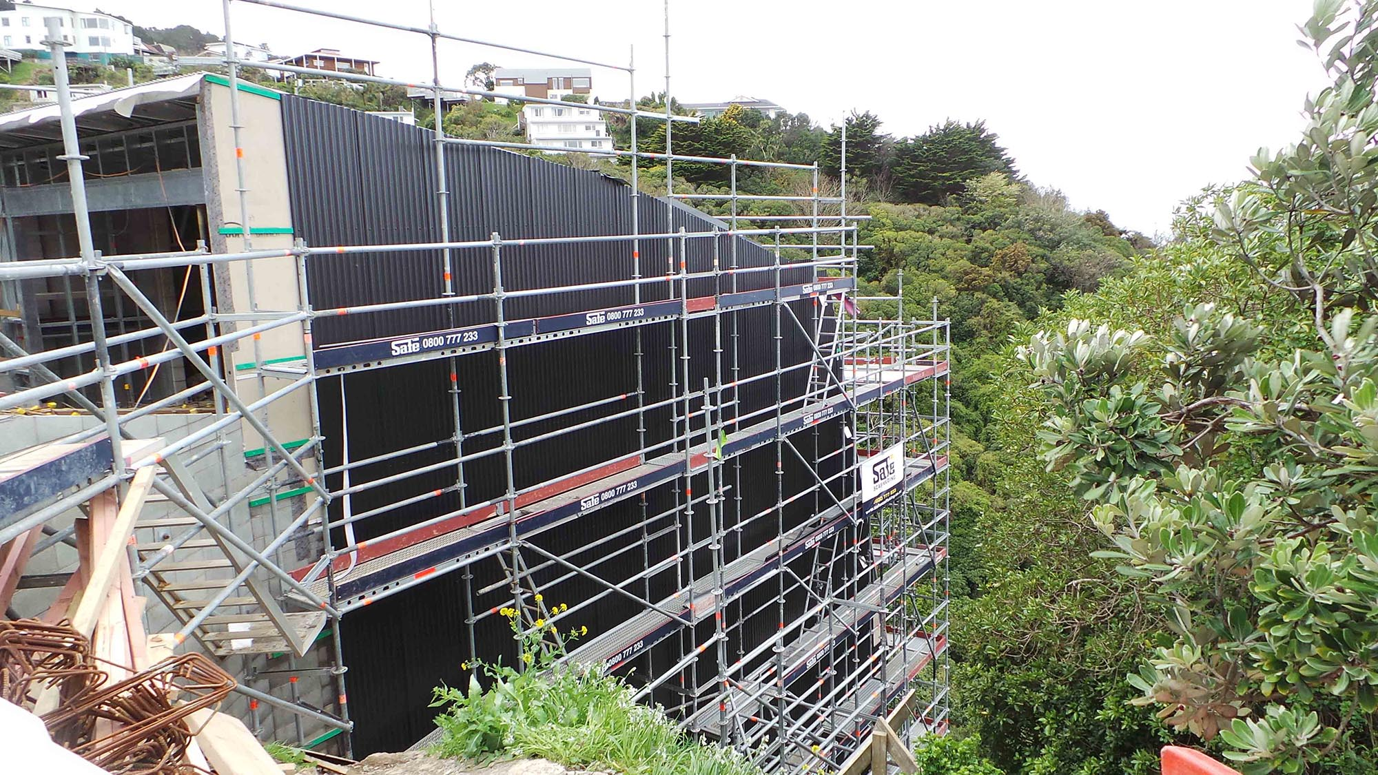 Safe Scaffolding erected Layher Scaffolding on this very steep section