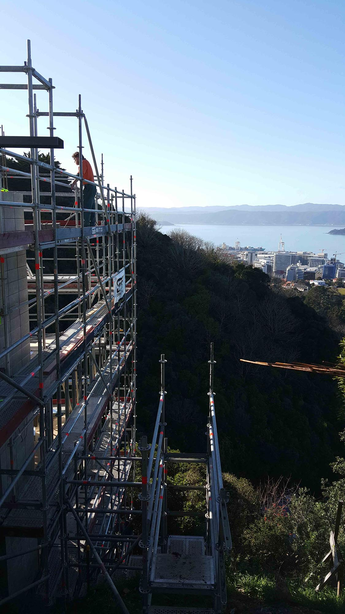 Stunning views of Wellington from the top of Layher Scaffolding