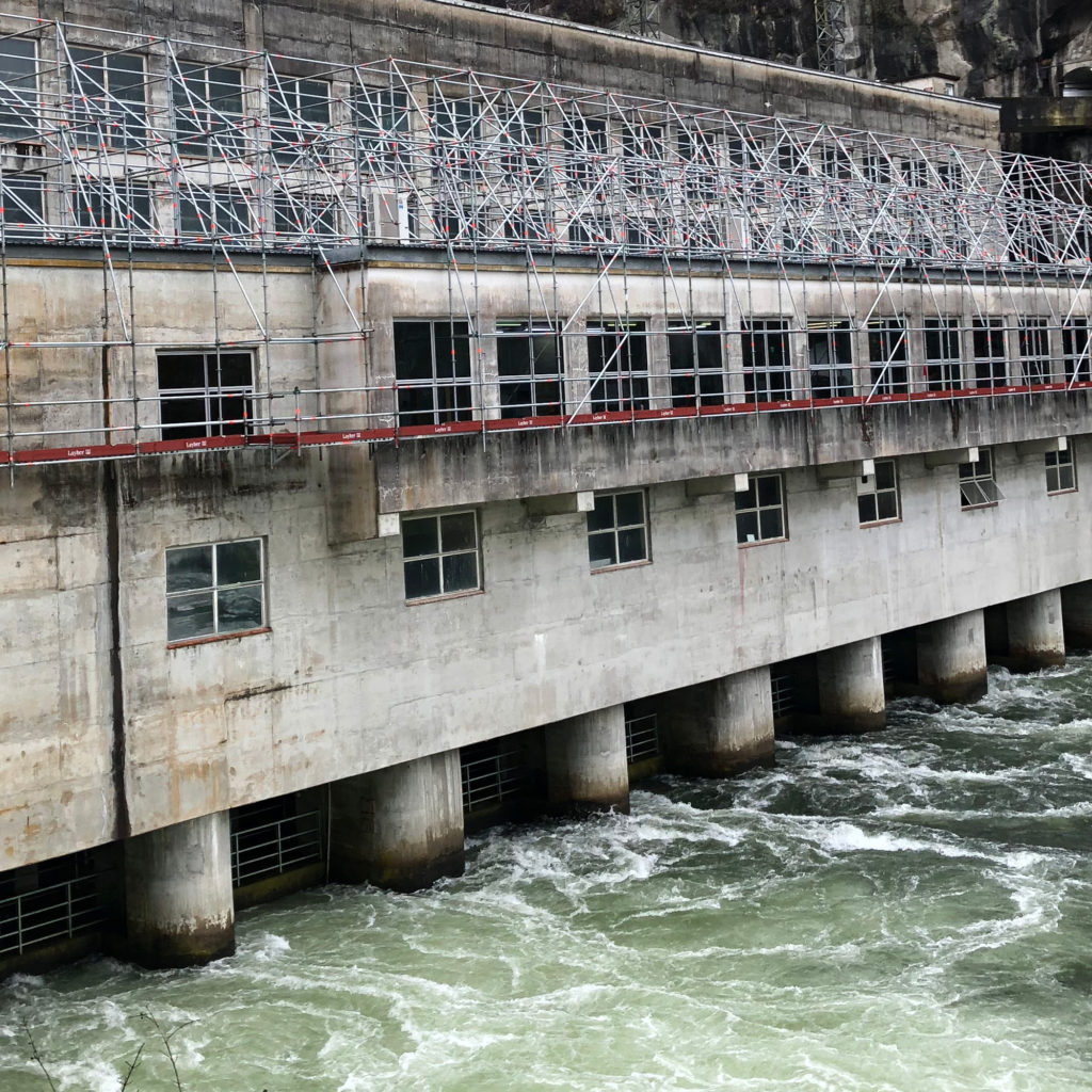 Waikato Scaffolders safely erected safe working access scaffold over gushing waters at the Maraetai Hydro Power Station