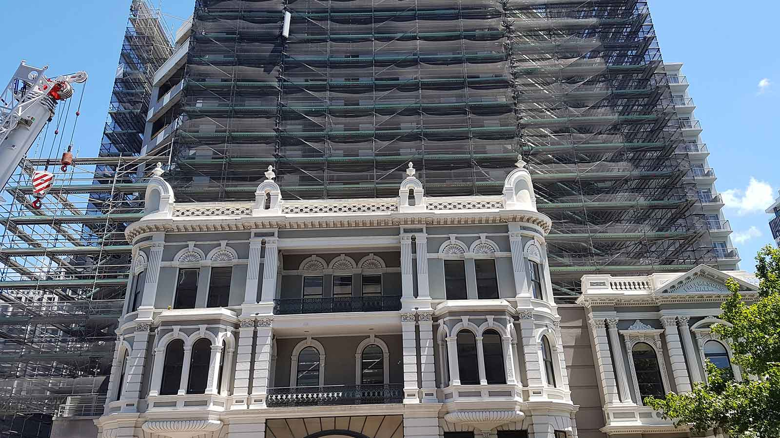 The International - Heritage Building by North Shore Scaffolding