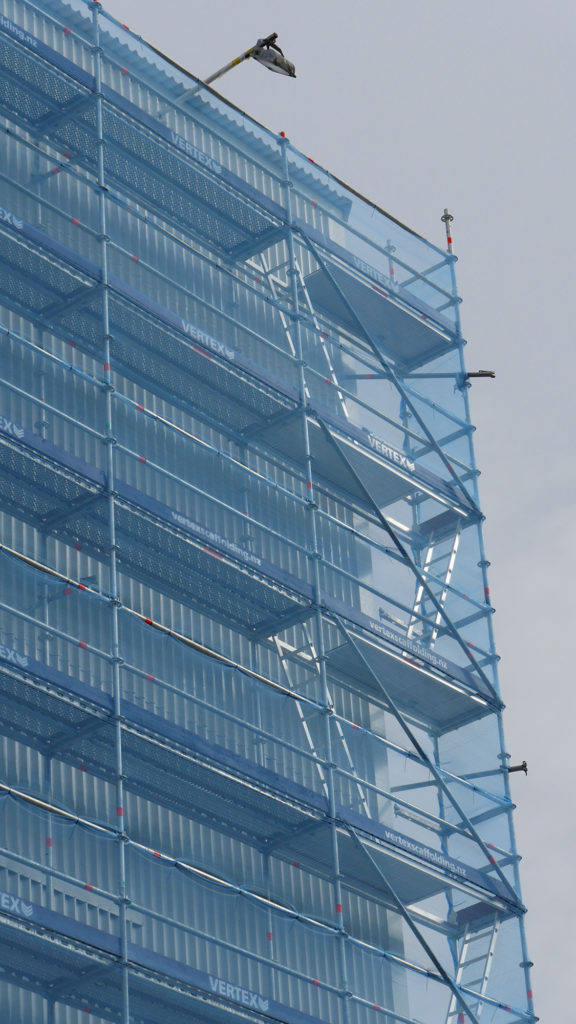 Layher Ladder Access Decks provide easy access for contractors