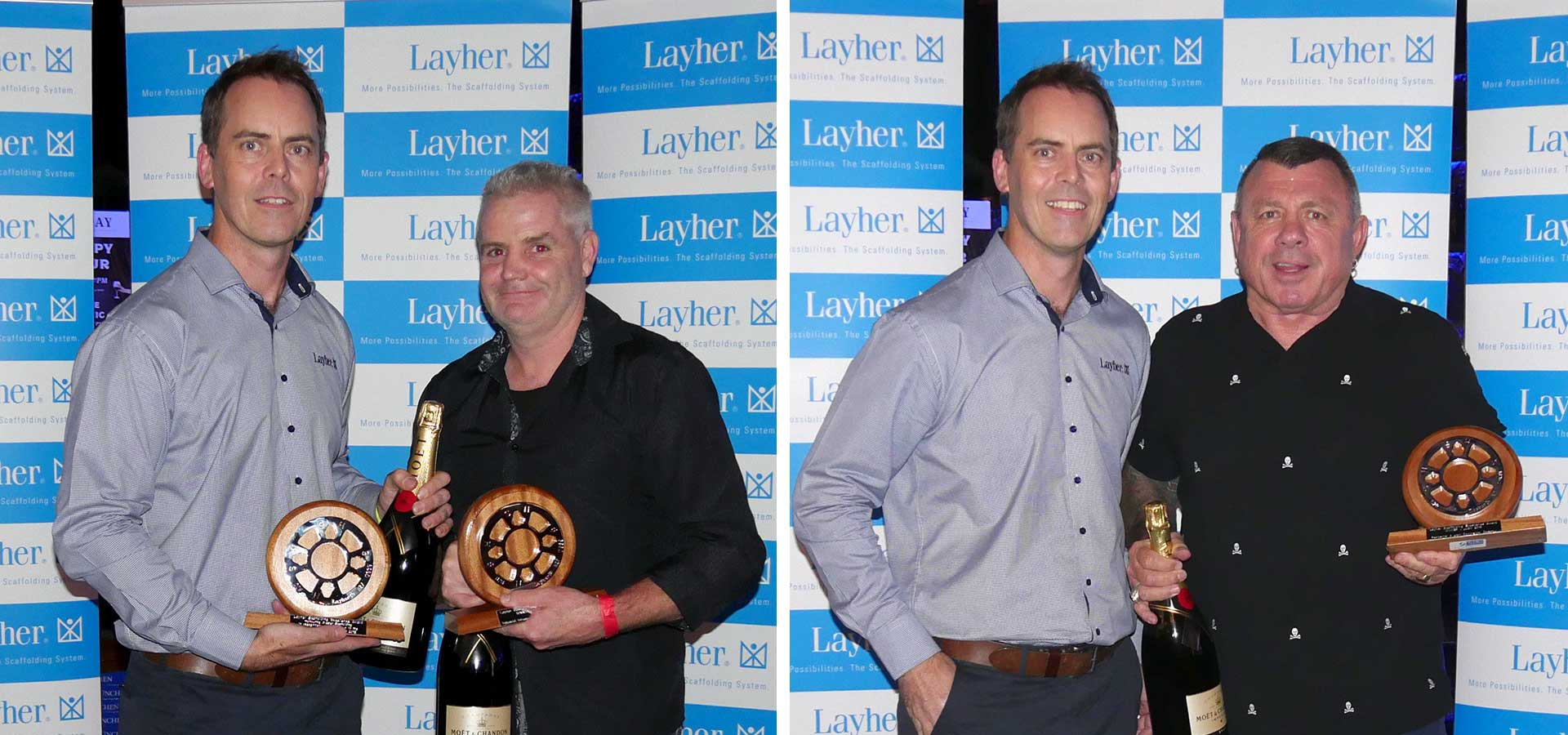 Scott Bergstrom, Managing Director Layher New Zealand presents Layher Scaffolding Excellence Awards winning trophies to Glen Brazier of Brazier Scaffolding (left photo) and Mick Curran of Upright Access Systems (right photo)
