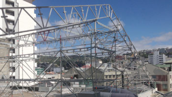Layher Keder Roof System under construction on top of Les Mills building in Wellington