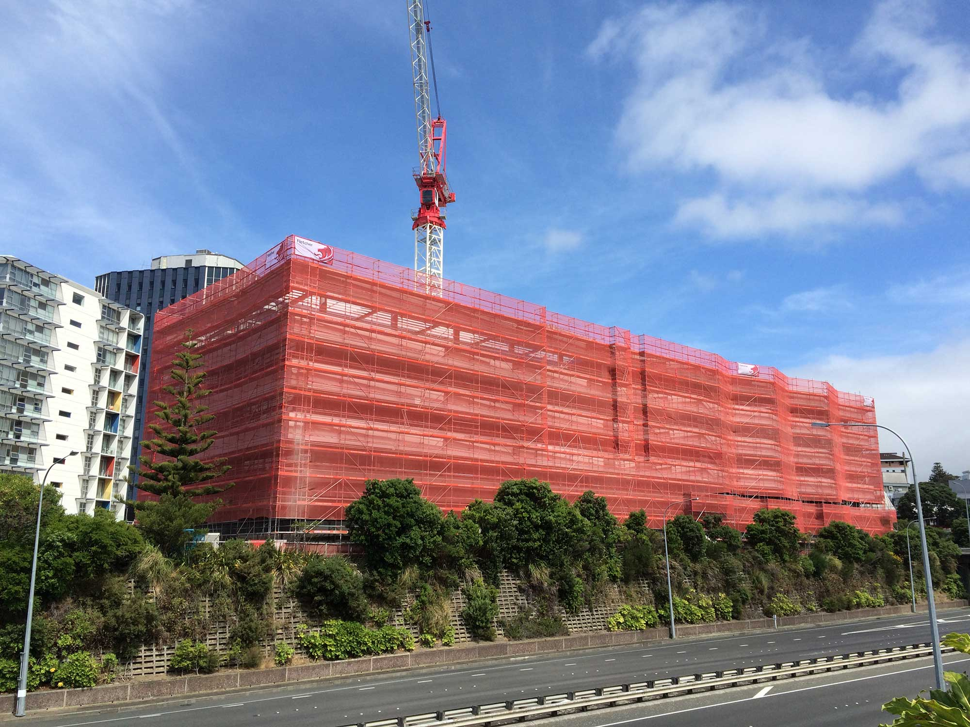 Layher Allround scaffolding used on large office building construction in Wellington