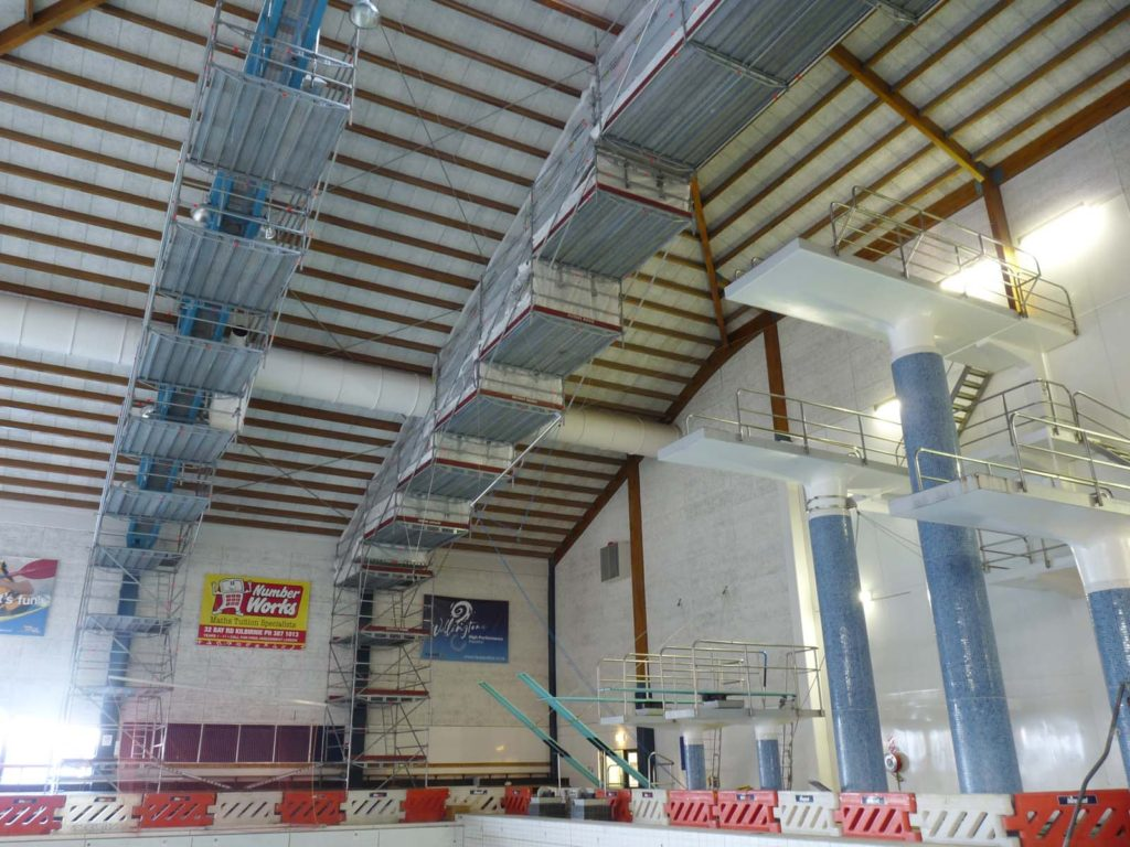 Scaffold over pool and high diving boards