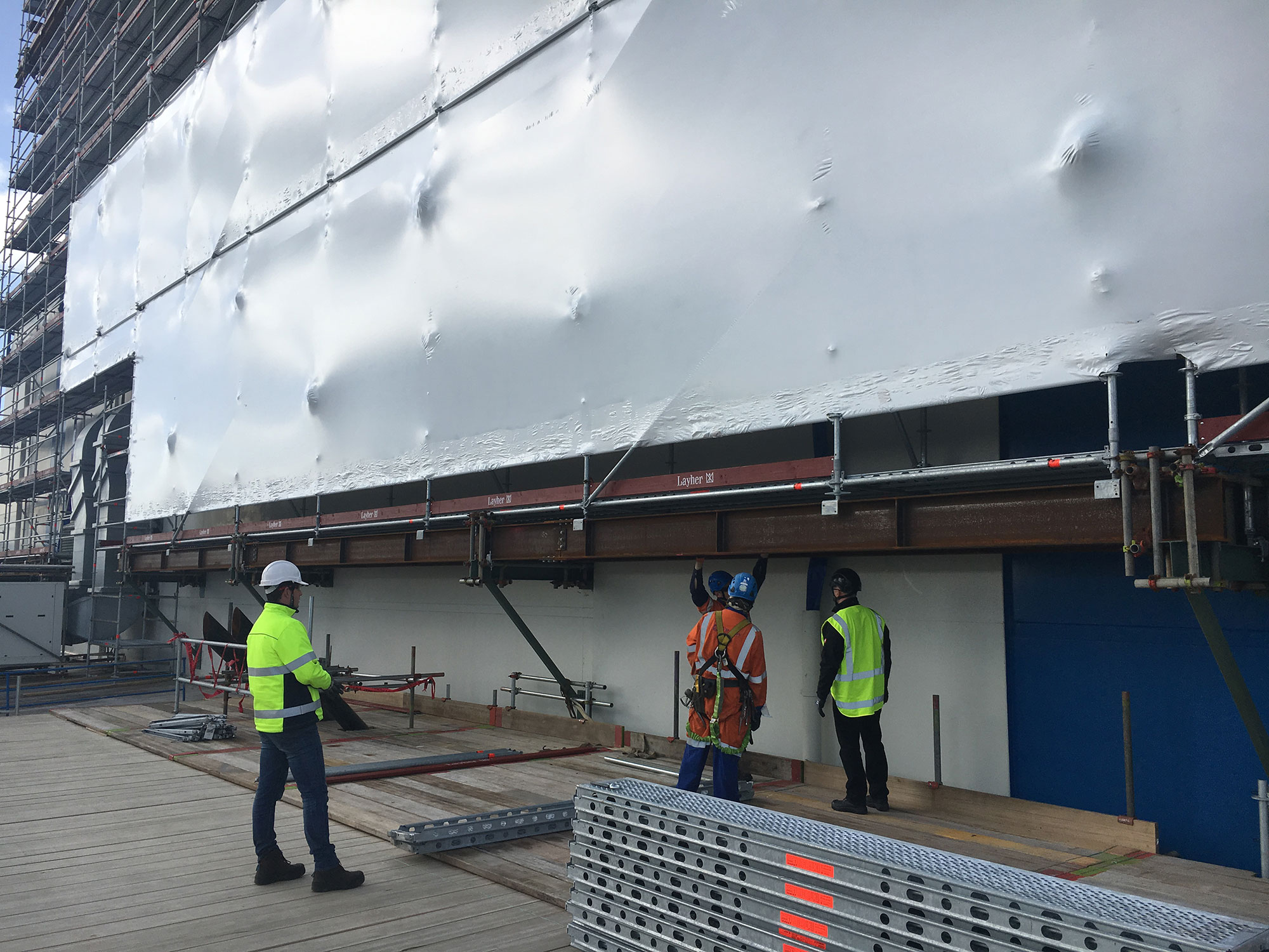 Layher's engineering team provided Fitzroy Engineering extensive support which assisted in this complicated scaffold build - Fonterra Waitoa Scaffold