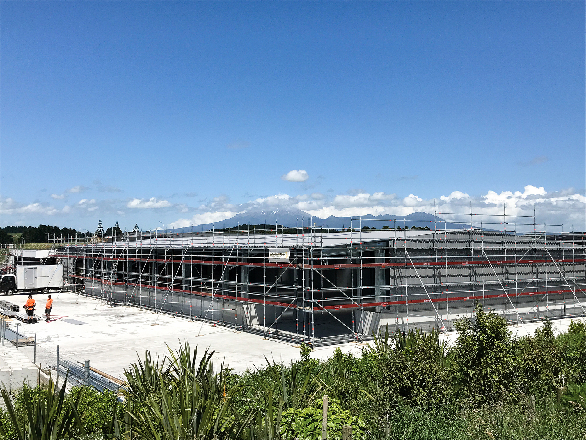 Clearway Scaffolding using Layher Allround Scaffolding on a construction project in Taranaki