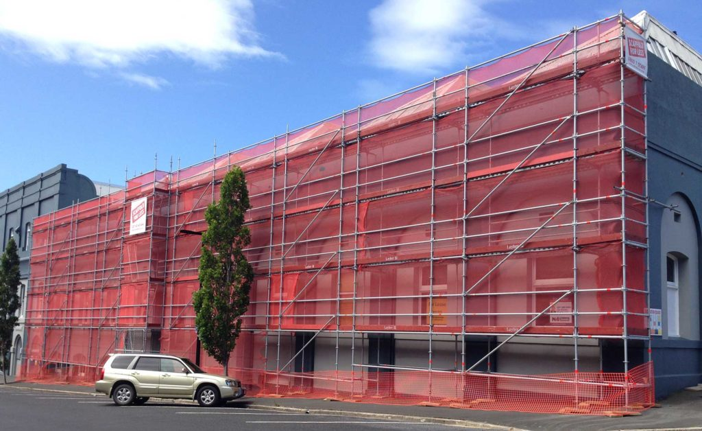 Scaffold For Less provided access to assist a variety of trades including concrete cutters, plumbers, painters and glaziers using Layher Allround Scaffolding at The Grainery, Dunedin.