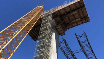 Transmission Gully Bridge scaffolding stair access