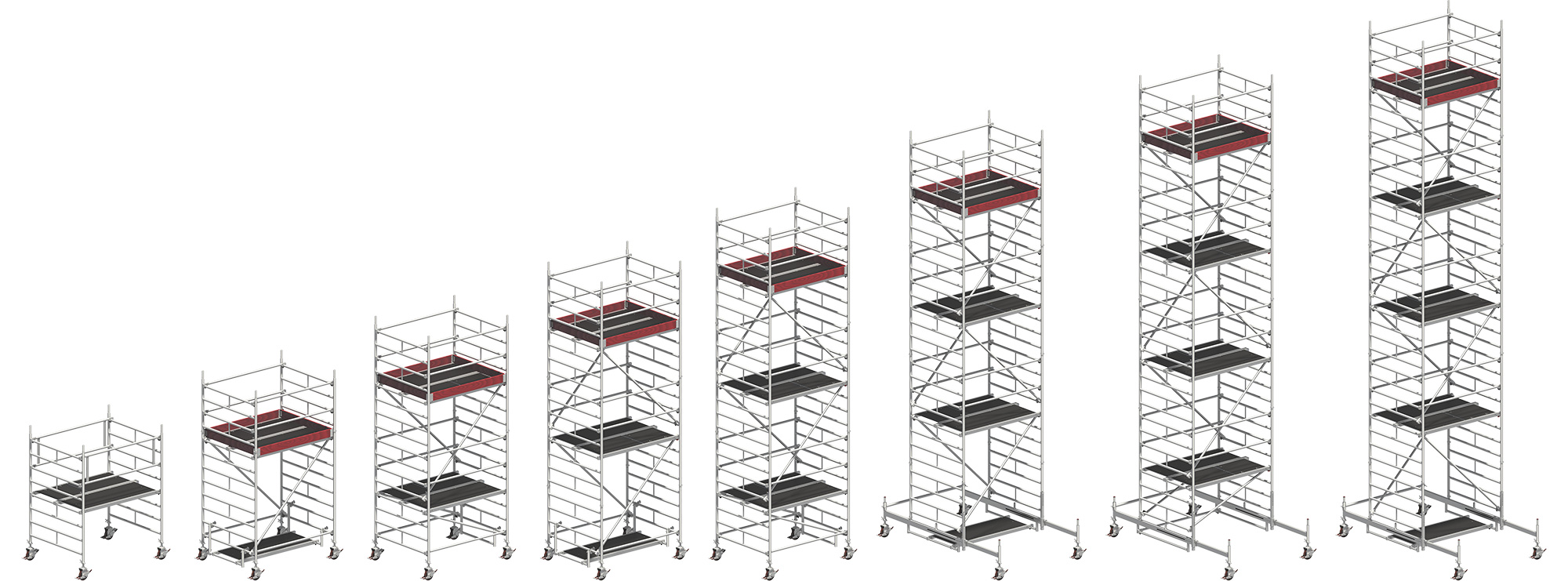 Uni Compact Rolling Tower working height range from 3.20m to 10.38m