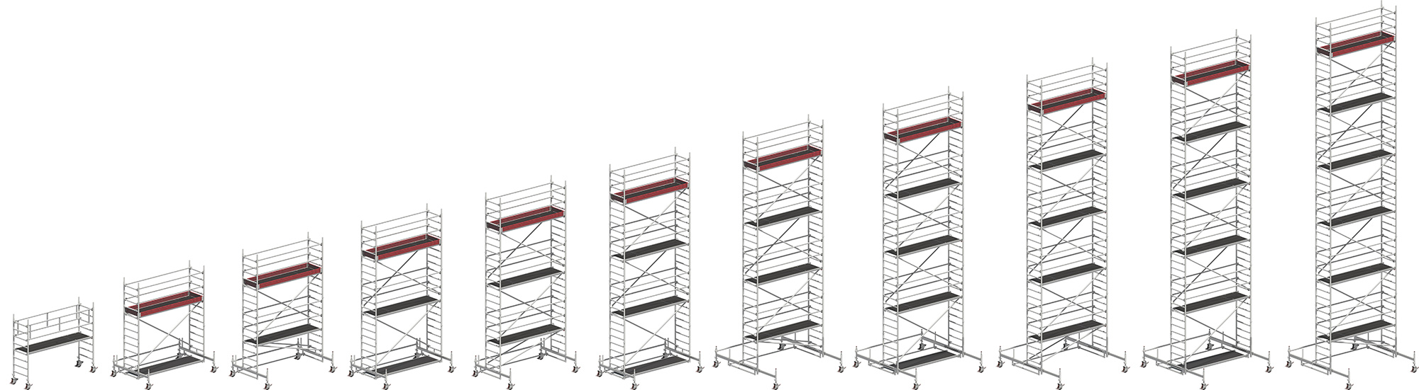 Uni Standard Rolling Tower working height range from 3.20m to 13.38m