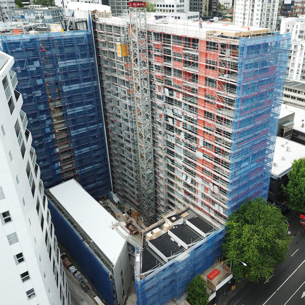 Queens Square apartment building with scaffolding Upright Access Systems
