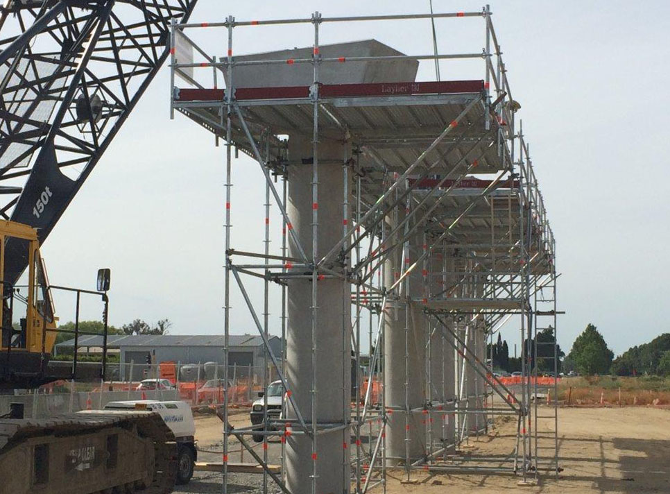 Space was at a premium so cantilevered Layher Allround scaffold was used to reduce ground footprint