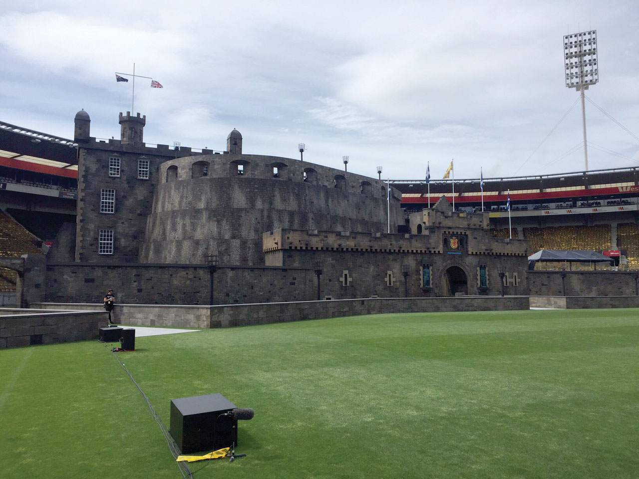 Edinburgh Castle built in Westpac Stadium using Layher Scaffolding