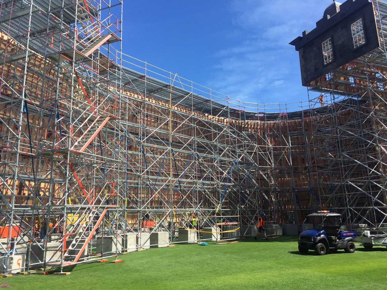 Behind the castle cladding a safe stronghold constructed of Layher scaffolding
